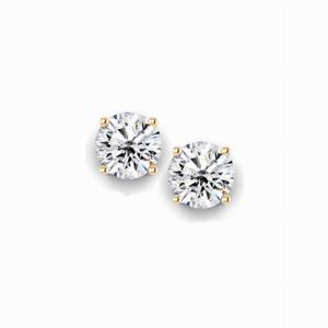 1.00ct Round Brilliant Cut Diamond Yellow Gold Stud Earrings