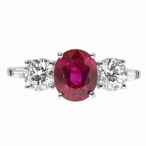 Oval Dark Pink Sapphire & Brilliant Cut Diamond Three Stone Ring 2.63ct