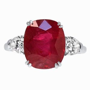 Natural Ruby & Pear Cut Diamond Three Stone Ring - 5.45ct