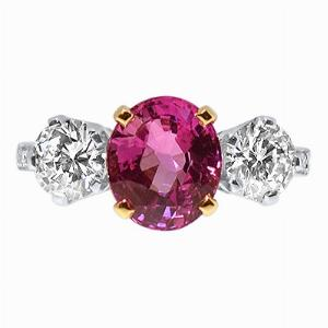 Oval Pink Sapphire & Brilliant Cut Diamond Three Stone Ring 3.28ct