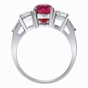 Oval Dark Pink Sapphire & Brilliant Cut Diamond Three Stone Ring_side