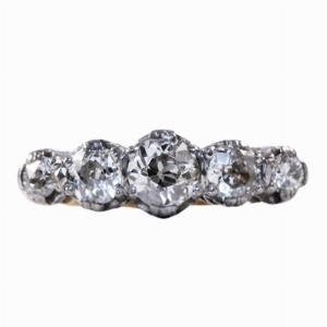 18ct Gold Five Stone Old Diamond Ring