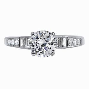Fontaine - Step Down Baguette & Old Cut Diamond Engagement Ring