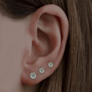 Brilliant Cut Six Claw Diamond Stud Earrings 0.32ct