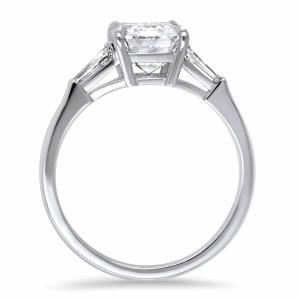 Platinum 3.00ct Emerald Cut & Tapered Baguette Diamond Ring