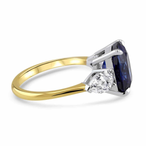 18ct Yellow Gold 4.50ct Cushion Cut Sapphire Trilogy Ring