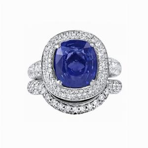 4.22ct Cushion Cut Sapphire Ring By Hirsh