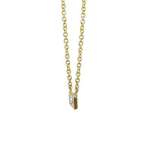 18ct Yellow Gold Baguette Cut Diamond Pendant