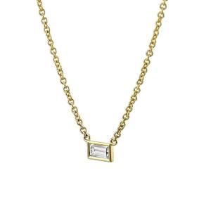 18ct Yellow Gold Baguette Diamond Pendant