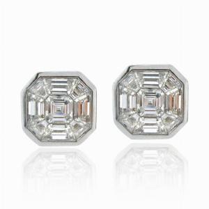 Asscher Cut & Trapeze Cut Diamond Studs 2.00ct