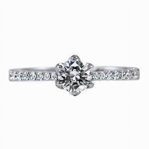 Brilliant Cut Diamond 6 Claw Engagement Ring With Grain Set Shoulders