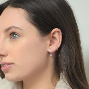 18ct White Gold Diamond Line Drop Earrings