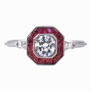 Old Cut Diamond & Ruby Target Ring - 0.40ct