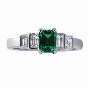 Emerald & Baguette Cut Diamond White Gold Five Stone Ring