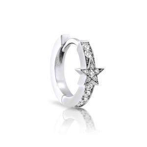 18ct White Gold 8mm Diamond Star Single Huggie Earring