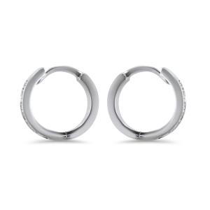 18ct White Gold 8mm Diamond Huggie Earrings