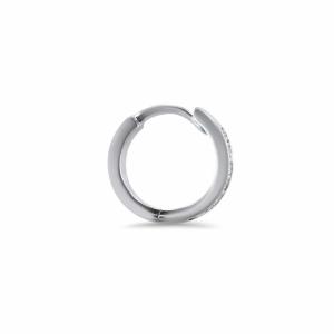 18ct White Gold Diamond 8mm single huggie Earring