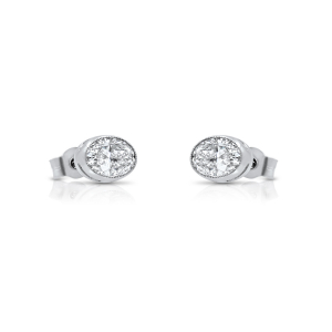 Oval Diamond Earrings Side View