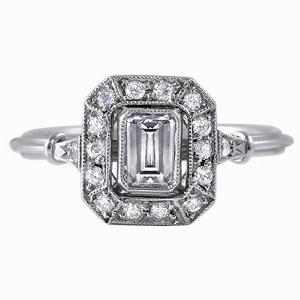 Emerald Cut Diamond Cluster Ring - 0.45ct