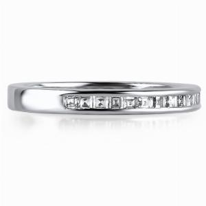 CAPRI Channel Set Carre Cut Diamond Wedding Rings