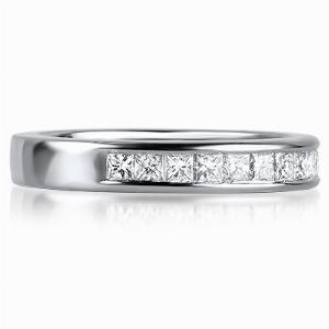 FLORENCE Channel Set Princess Cut Half Diamond Wedding Rings