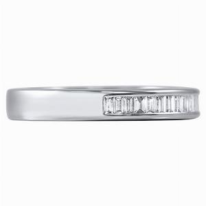 AMALFI Channel Set Baguette Cut Half Diamond Wedding Rings