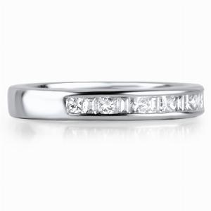 SALENTO Channel Set Princess & Baguette Cut Half Diamond Wedding Rings