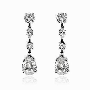 Pear Shape Diamond Drop Earrings 4.01ct