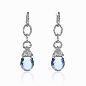 Aquamarine Briolette & Diamond Drop Earrings 18ct