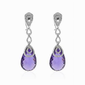 Amethyst Briolette & Diamond Drop Earrings 31.17ct
