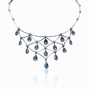 Platinum Aqua & Diamond Necklace 6.81ct