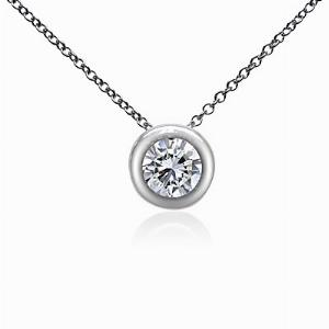 Brilliant Cut Rubover Set Diamond Pendant 0.40ct GSI2 IGI