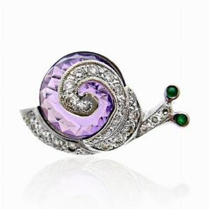 Amethyst & Diamond Set Snail Brooch