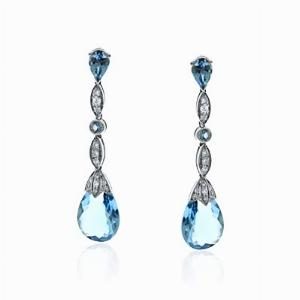 Aquamarine & Brilliant Cut Diamond Drop Earrings 6.82ct