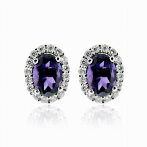 Amethyst & Brilliant Cut Diamond Cluster Earrings 0.82ct