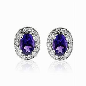 Amethyst & Brilliant Cut Diamond Cluster Earrings 0.84ct
