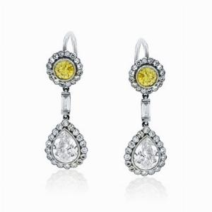 Fancy Yellow & White Diamond Drop Earrings