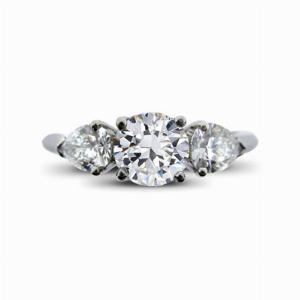 Brilliant Cut & Pear Shape Engagement Ring 0.51ct GVS1 GIA