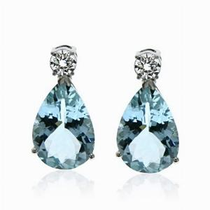 Aquamarine & Brilliant Cut Diamond Drop Earrings 6.50ct