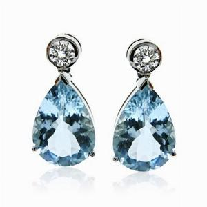 Aquamarine & Brilliant Cut Diamond  Earrings 6ct