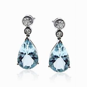 Aquamarine & Brilliant Cut Diamond Drop Earrings 6.14ct