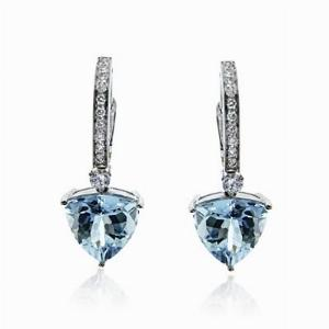 Aquamarine & Brilliant Cut Diamond Drop Earrings 4.27ct