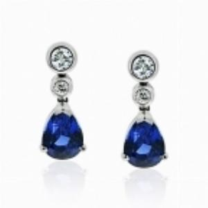Sapphire & Diamond Earrings Drop Earrings 2.22ct