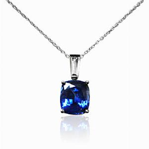 Sapphire & Diamond Cushion Cut Pendant 1.82ct