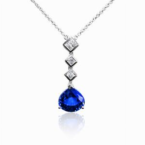Pear Shape Sapphire & French Cut Pendant 2.82ct
