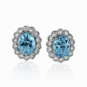 Aquamarine & Brilliant Cut Diamond Cluster Earrings 2.47ct