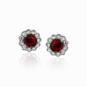 Ruby & Diamond Cluster Studs 0.73ct