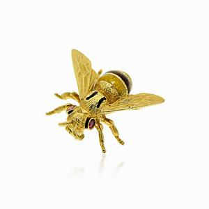 Enamel & 18kt Gold Set Bee Brooch Pin