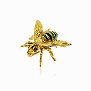 Enamel & 18kt Gold Set Bee Brooch