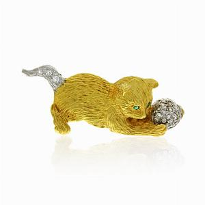 18ct Gold & Diamond Kitten Brooch